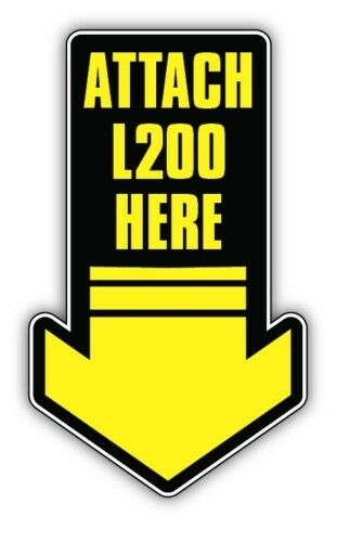 2x ATTACH L200 HERE CAR STICKER towbar land rover 100mm high