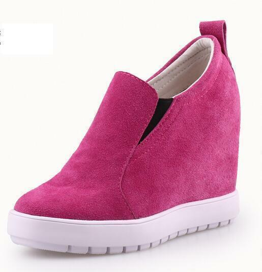 Womens Leather Fashion High Wedge Hidden Heel Platform Candy color color color Creeper shoes 7fb032