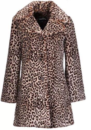 Moyen à vintage léopard vintage fourrure en long imprimé fausse Manteau Enjoyfur 6zZPXqnv