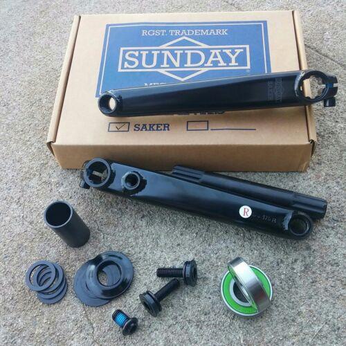 SUNDAY SAKER CRANK V2 BLACK OR CHROME 3 PIECE BMX CRANKS FIT KINK MISSION RANT