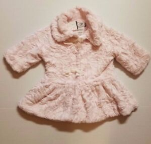 58243cac3 AMERICAN WIDGEON INFANT GIRLS EASTER FAUX FUR COAT 12M PINK DROP ...