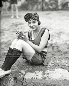 1922 Vintage Photo Cute Bathing Girl with Pet Opossum at Beach 1920s Swimsuit