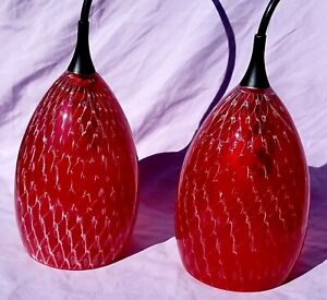 Murano-Style-Set-of-2-Mini-Pendant-Hand-Blown-Glass-Red-Fish-Net-Art-NOS