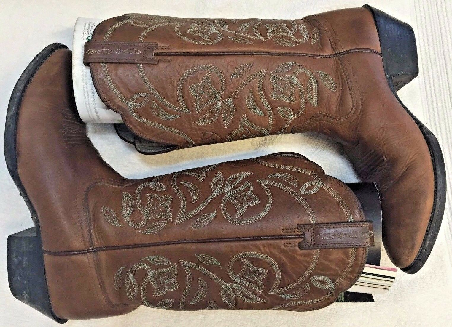 Ariat Western Cowboy Boots Donna 7B Brown Leather Horse Riding Blue Embroidered
