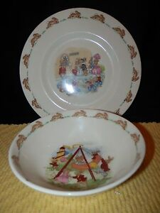 Vintage-Royal-Doulton-Bunnykins-Childrens-2-piece-set-bowl-And-plate