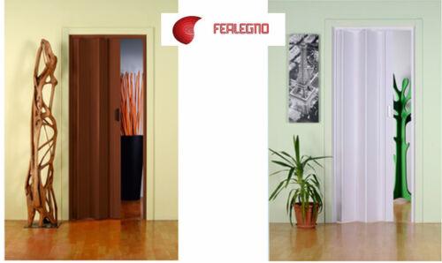 PORTA A SOFFIETTO C//MANIGLIA 83x214cm DA ASSEMBLARE COLORE NOCE o BIANCO