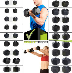 PAIRS-Rubber-Coated-Hex-Dumbbells-CAST-IRON-Weights-Home-Gym-Strength-Training