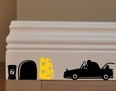 MOUSE MICE cabriolet with cheese funny wall decal  outline vinyl stickers