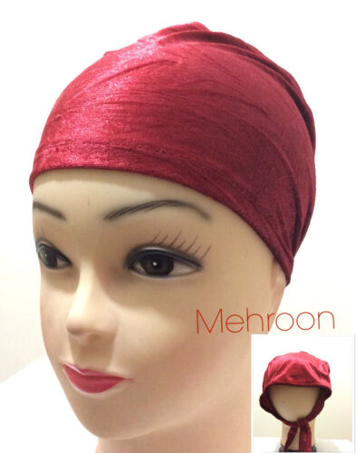 Women Ladies Under scarf  Hijab Tie Back Bonnet Cap  Head band Tie Back Hat