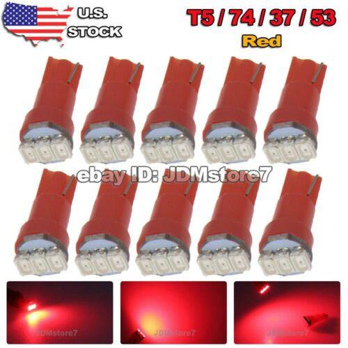 10x T5 73 74 37 17 18 3-SMD RED Dashboard Gauge Instrument LED Bulb Light 12V