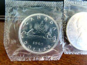 BRILLIANT-UNCIRCULATED-1965-CANADIAN-SILVER-DOLLAR-SCARCE-VARIETY-1-SB-P5