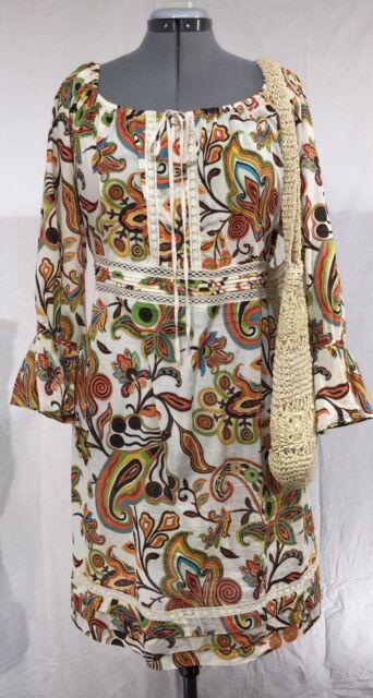 BOHO/HIPPIE STYLE DRESS & WEAVE SHOULDER BAG Ensemble size XL