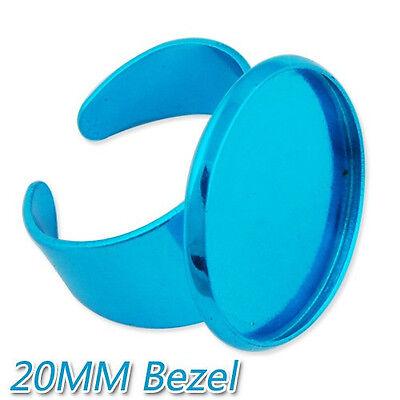 Lot 20Pcs 20MM Round Shallow Pad Adjustable Electrophoresis Ring Blank Bases
