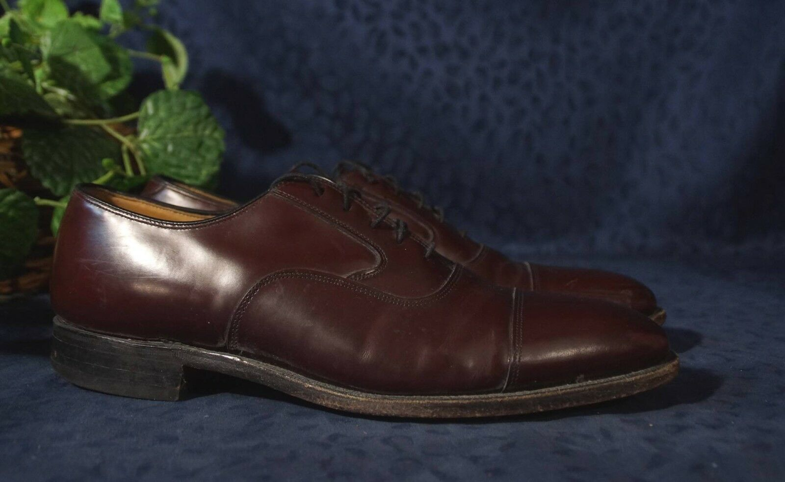 JOHNSTON & MURPHY LIMITED  US Made Burgundy Cap Toe Brogues Oxfords Sz 10 B 2A
