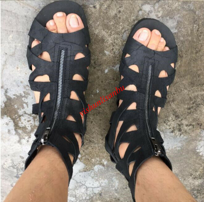 Men Breathable Sandals Flats Flats Flats Roman British Style Beach Hollow Out Zipper Retro c9892d