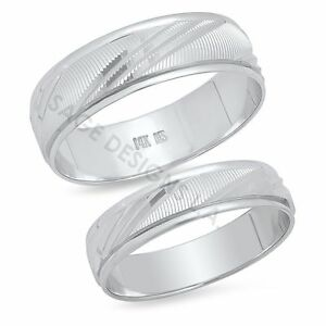 His-amp-Hers-14K-White-Gold-Mens-Womens-Wedding-Band-Engagement-Ring-Set-Matching