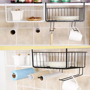 Details About Kitchen Storage Basket Rack Table Wire Mesh Under Shelf Cabinet Organizer Holder
