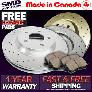 Z0253-FIT-2003-2004-Toyota-Echo-FRONT-Cross-Drilled-Brake-Rotors-Ceramic-Pads