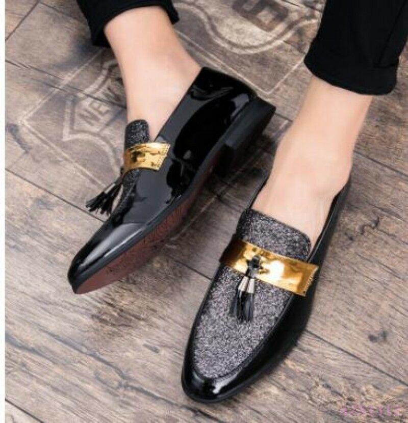 Men Business Wedding Drive shoes Moccasins Shiny Patent Tassel Fringe Party Cool