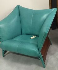 """45"""" W arm chair soft italian caribbean blue leather solid exotic hard wood frame"""