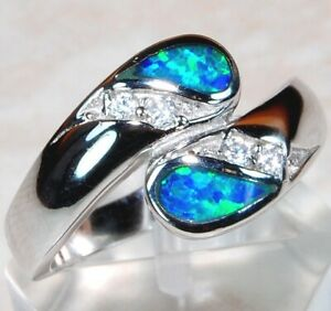 Australian-Opal-Inlay-amp-White-Topaz-925-Sterling-Silver-Ring-Jewelry-Sz-7-OR-1