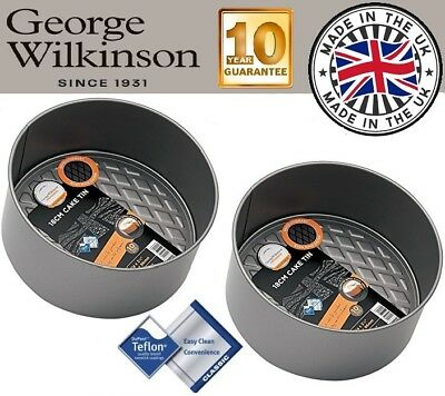 """2 X 18cm 7"""" Natale Tortiera In Teflon Antiaderente Profonda Rotondo Da George Wilkinson- Design Moderno"""
