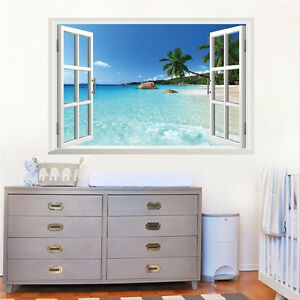 DIY 3D Effekt Fenster Strand Meer Wandaufkleber Aufkleber Wandtattoo ...