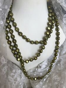 1930s-Vintage-Flapper-Necklace-Metallic-Enamelled-Glass-Knotted-Beaded-Old-Retro