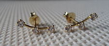 QVC Diamonique cz Sterling Silver/Y Gold clad 3 Stone Curved Illusion Earrings