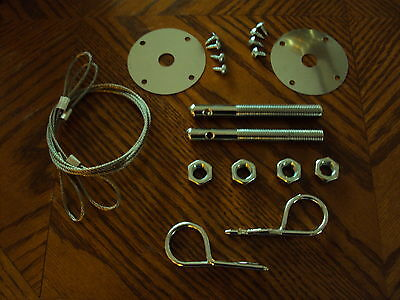 Hood Pin & Cable Kit CHEVELLE EL CAMINO CAMARO Z28 NOVA GTO 442 W30 HURST OLDS