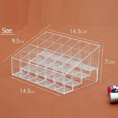 24 Makeup Lipstick Cosmetic Storage Display Rack Holder Organiser Clear Stand FT