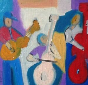 HINKLE-musicians-music-oil-painting-expressionism-original-art-modern-cubism