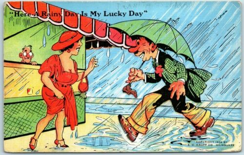 "Comic Linen Postcard Man Umbrella Pretty Lady ""Here a Rainy Day is My Lucky day"""