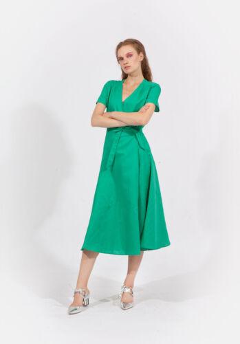 Jovonna London Bright Green Linen Wrap Long Maxi Dress Wedding Party