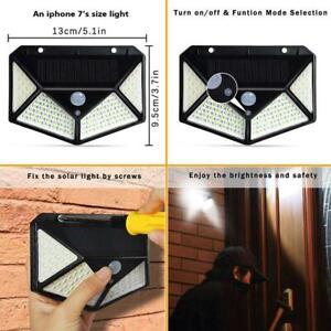 100-LED-Solar-Power-PIR-Sensor-Motion-Wall-Light-Outdoor-Garden-Lamp-Waterproof