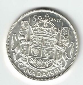 CANADA-1951-50-CENT-HALF-DOLLAR-KING-GEORGE-VI-CANADIAN-800-SILVER-COIN