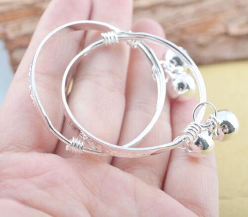 Hot 1 Paire Plaqué Argent Bébé Enfant Cloche Bracelet Bracelet Cadeau de Noël