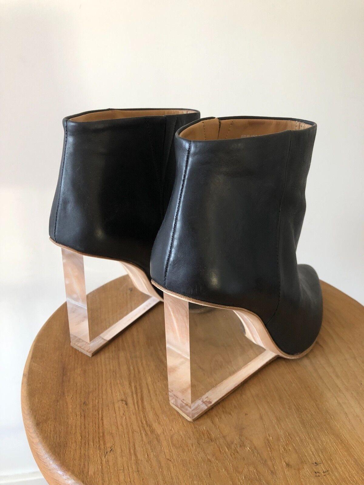 Maison Margiela H&M Clear Lucite Heel Heel Heel Wedge Black Leather Ankle Boots 9 40 UK 7 183438
