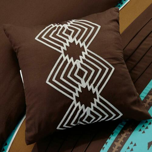 Queen King Bed Teal Blue Coffee Brown Southwestern Navajo 7 pc Comforter Set