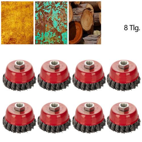8X Topfbürste Gezopft M14 Drahtbürste Zopfbürste Ø75mm Stahl Bürste fr Flex Topf