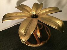 Vintage Hollywood Regency Coffee/Side Table Base Metal Lily Sculpted Gold Tone