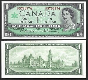 Canada-One-Dollar-1-1967-WITH-SERIAL-AU-UNC-Banknotes