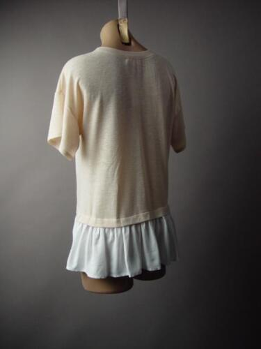 Cream White Layered Look Minimalist Work Office Shirt Top 227 mv Blouse S M L