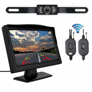"5/"" Monitor Car Rear View System Backup Reverse Camera Night Vision Kit Wireless"