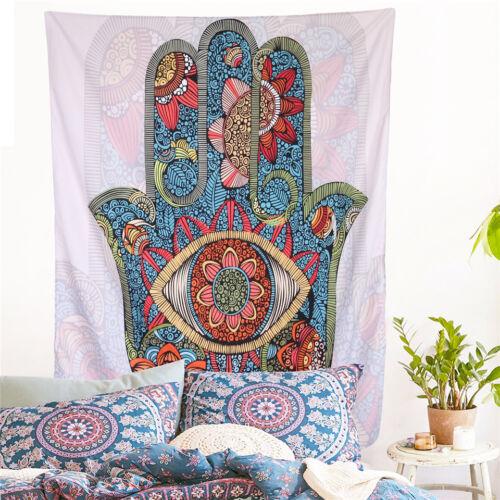 Hamsa Hand Tapestry Mandala Floral Wall Hanging Decor M7C