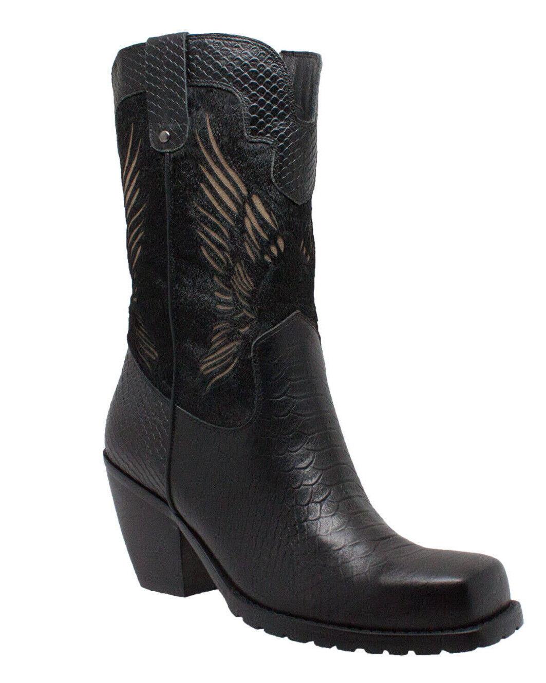 Nuevas botas para mujer adtec Cuero Biker Vestido Informal botas Águila Volando Negro 8547