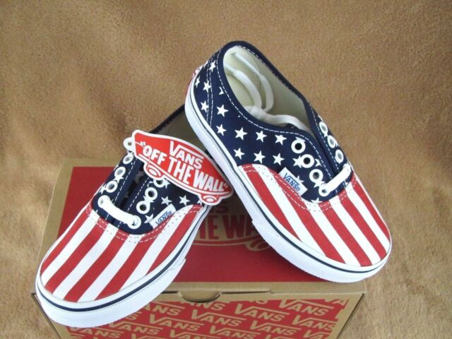 aae8433eb5 VANS Authentic Skate Shoes Kids Youth 12 Stars   Stripes Red White ...
