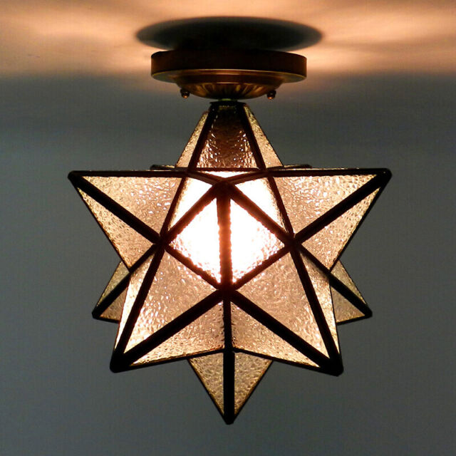 Moravian Star Frosted Glass Ceiling Light Fixture Semi Flush Mount Ceiling Lamp
