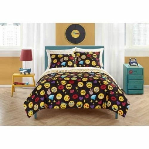Girls Emoji Black Icons Queen Comforter Sheets /& Shams 7 Piece Bed In A Bag