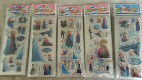 10 x Sheets Frozen Elsa Anna 3D Stickers For Crafts DIY Fun Activity Time Party